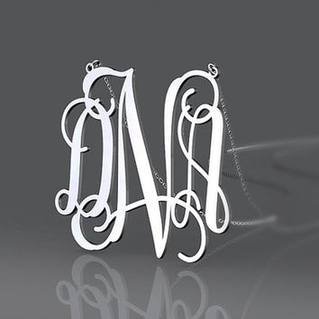Initial monogram DNA style 1 inch or  customized monogram necklace 925 sterling silver