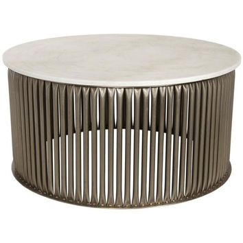 Xander Coffee Table, Antique Silver, Metal and Stone