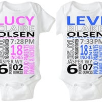 Fraternal Twins Boy Girl Twins Baby Gift: Birth Stats Onesuit Birth Announcement Nursery Art Photo Shoot Prop Preemie Size Available!