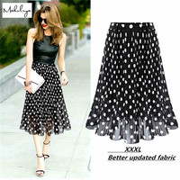 2016 Summer Chiffon polka dot skirt female black dots in the long waisted pleated skirt beach A