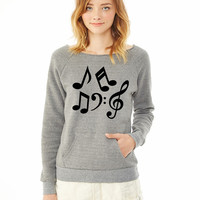 Music notes 1 ladies sweatshirt