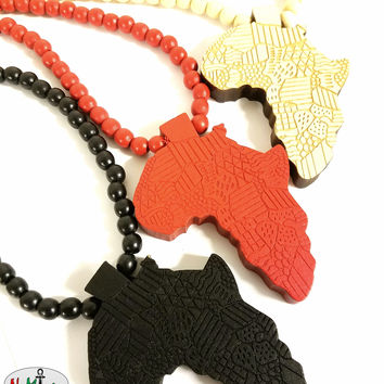Beaded Wooden Motherland Map Necklace