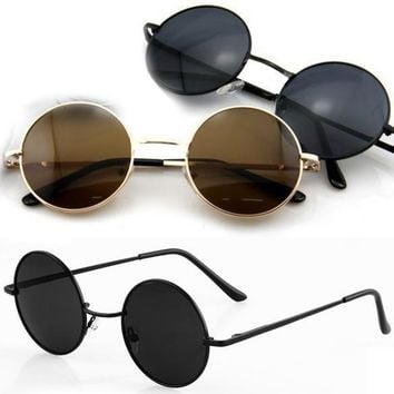 New Vintage Retro Men Women Round Metal Frame Sunglasses Glasses Shades D_L = 5617708609