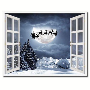Santa Claus Picture 3D French Window Canvas Print Home Décor Wall Frames