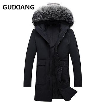 2017 Men's casual 85% white duck down down coats jackets Men's thick Fox fur collar down cotton-padded jacket trench coat men