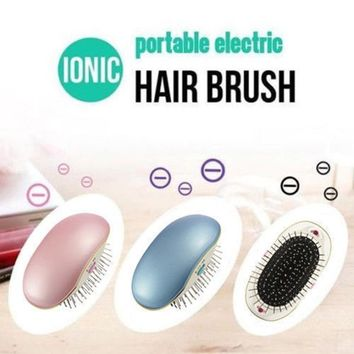 Anti-static Electric Ionic Hair Comb Brush Head Massage Relax Travel Frizz Free Smooth Portable Hair Styling Tools