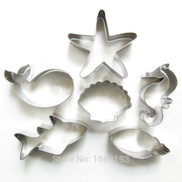 Starfish,Seashell,Conch,Sea Horse,Shark,Whale,Six Cute Charming Sea Creatures Shape Cake Decorating,Baking Tools,Direct Selling