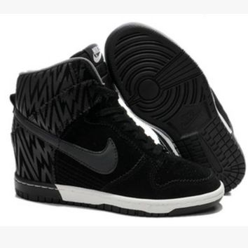 Tagre™ NIKE Hidden Heel Charm High Boots Height Increasing Women Sneakers Shoes Black hook