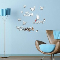 new fashion acrylic mirror sticker modern home decor sofa background butterfly pattern furniture 3d wall stickers free shipping