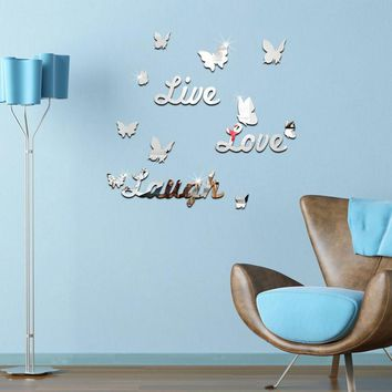 top sale acrylic mirror sticker home decoration modern style furniture living room 3d stickers butterfly pattern free shipping