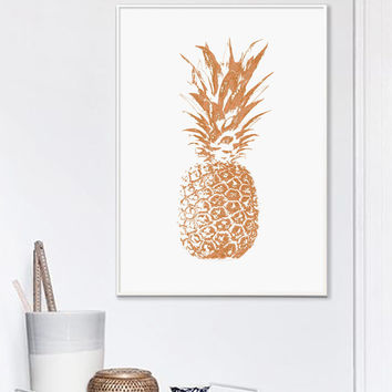 Copper Pineapple Print, Pineapple Print, Tropical Print, Copper, Printable Art, Copper And White, Scandinavian Style, Affiche Geometrique