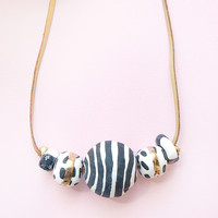 Chunky Bead Necklace in Monochrome With Gold by Jode Pankhurst