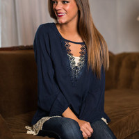 Be Loved Blouse, Navy