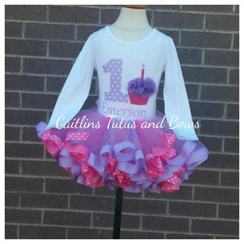 pink and purple cupcake birthday outfit, 3d cupcake birthday outfit, pink and purple tutu, purple birthday tutu, pink birthday outfit, tutu