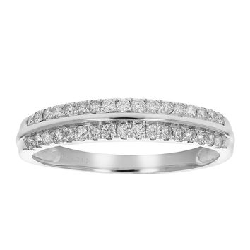 0.30 Carats 1/3 cttw AGS Certified I1-I2 Diamond Wedding Band Prong Set 14K White Gold (G-H)