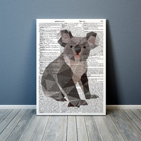 Nursery print Geometric Koala art Animal poster Colorful decor TO338