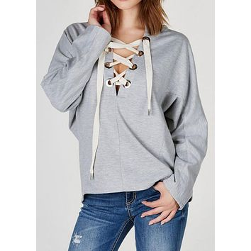 Hoodie Women's Lace Up Solid Long Sleeve
