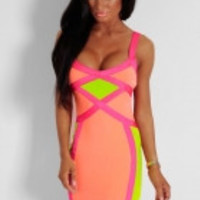 Entice Neon Multicolour Bodycon Bandage Dress