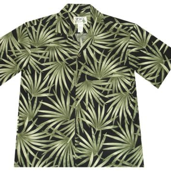 KY's Mens Black Button Down Hawaiian Shirt with Green Hawaiian Leaves