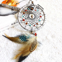 D1U# Indian Style Silver Dream Catcher Feathers Core Bead Dreamcatcher for Wall Car Decoration