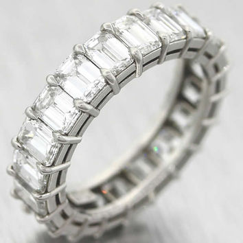 5.18cttw G VS1 Emerald Cut Diamond Platinum Eternity Wedding Band Ring