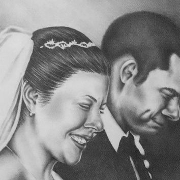 Custom wedding portrait, TWO people, pencil portrait, photos to drawing, wedding portrait, wedding gift, bride and groom, sketch, marriage
