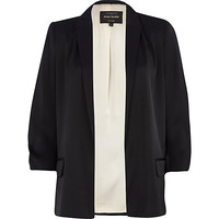 River Island Womens Black ruched sleeve blazer