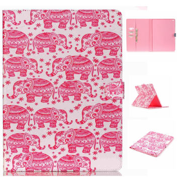 Cute Pink Elephant PU Leather Case Wallet for iPad Pro 12.9