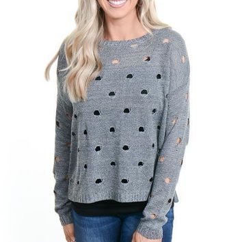 Gray Distressed Dot Sweater