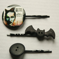 Marilyn Manson and Spooky Button Bobby Pin Set- Rockabilly