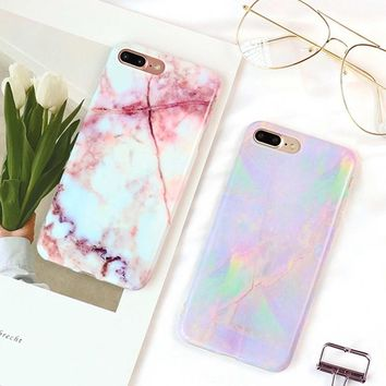 Soft Silicone Marble Texture Opal Pattern Phone Case for Iphone 6 6s 7 8 Plus Shockproof Cellphone Cover Mobile Shells Accessori