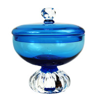 Aseda Glasbruk Candy Bowl, Turquise Blue Covered Dish, Bo Borgstrom Art Glass