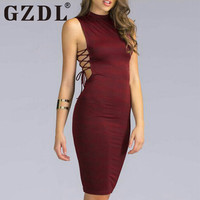 Summer Style Sexy Women Cocktail Sleeveless Dresses Lace up Tie Hollow Out Bodycon Crew Neck Wrap Mini Dress