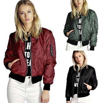 2016 New Fashion Stylish Womens Ladies Classic Padded Bomber Jacket Vintage Zip Up Biker Coat Women Plus Size Jackets S-4XL