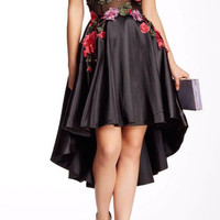 Floral High Low Sleeveless Cocktail Dress #556