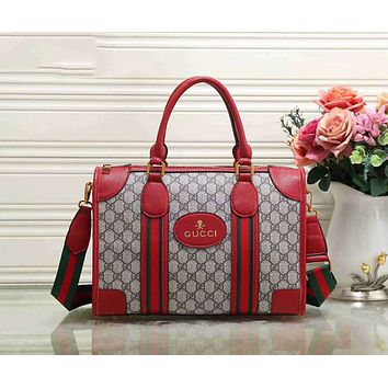 Gucci New Popular Women Leather Shoulder Bag Satchel Tote Handbag Red I-LLBPFSH