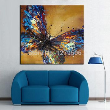 Handmade Abstract Blue Butterfly Art Oil Painting