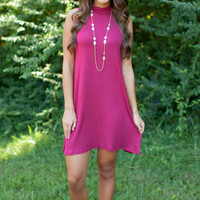 Plain Sleeveless High Neck Dress