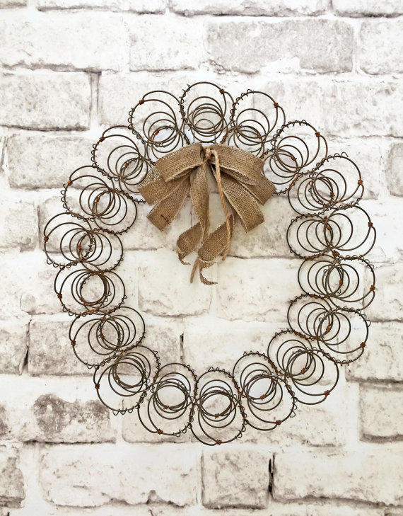 Rustic bed spring wreath vintage wreath from for Bed spring decoration