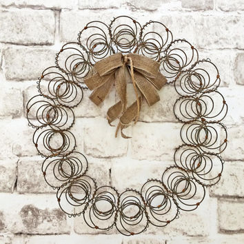 Rustic Bed Spring Wreath, Vintage Wreath, Shabby Chic Wreath, Southern Country Wreath, Primitive Wreath, Antique Wreath, Farmhouse,Decor