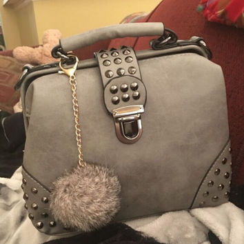 Gray Leather Chic Chic Crossbody Handbag Shoulder Bag with Rivet & Fur Tail Gift
