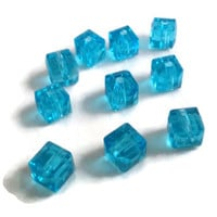 Crystal Cube Beads - 6mm Turquoise Faceted Cubes - 10pcs