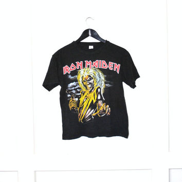 Iron Maiden Tshirt / vintage small black heavy metal concert T shirt