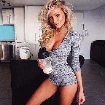 Knitted Sexy Bodysuit Women Rompers Bodycon Jumpsuit Long Sleeve Bodysuit Women Autumn Spring Ribbed Bodysuits Playsuits