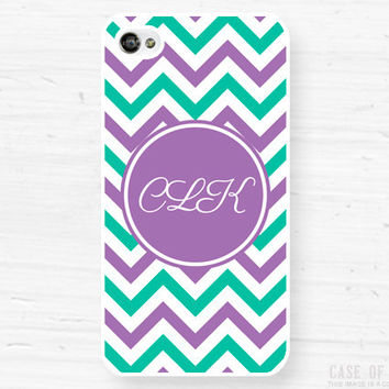 Monogram iPhone Samsung Case - 5, 4 Galaxy s2 s3 s4 note, Ipod Touch 4, 5, Blackberry - Chevron - purple marine green- 0002
