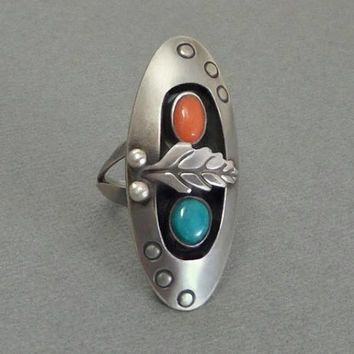 OLD PAWN Vintage Native American Large RING Turquoise Coral Jewelry Sterling Silver Long Shadowbox Feather Leaf, Size 7, Girlfriend Gift Her