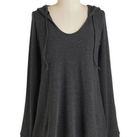 ModCloth Mid-length Long Sleeve Hoodie Cookie Competition Hoodie in Charcoal