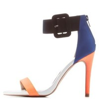 Neon Orange Qupid Color Block Single Strap Heels