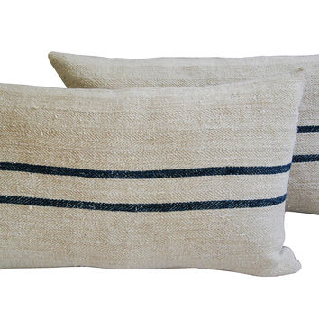 Blue/Ivory French Grain Sack Pillows, Pr