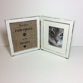 Paw print on heart frame, dog memorial frame, pet loss photo frame, Remembrance gift, coastal double frame, rainbow bridge, dog and c